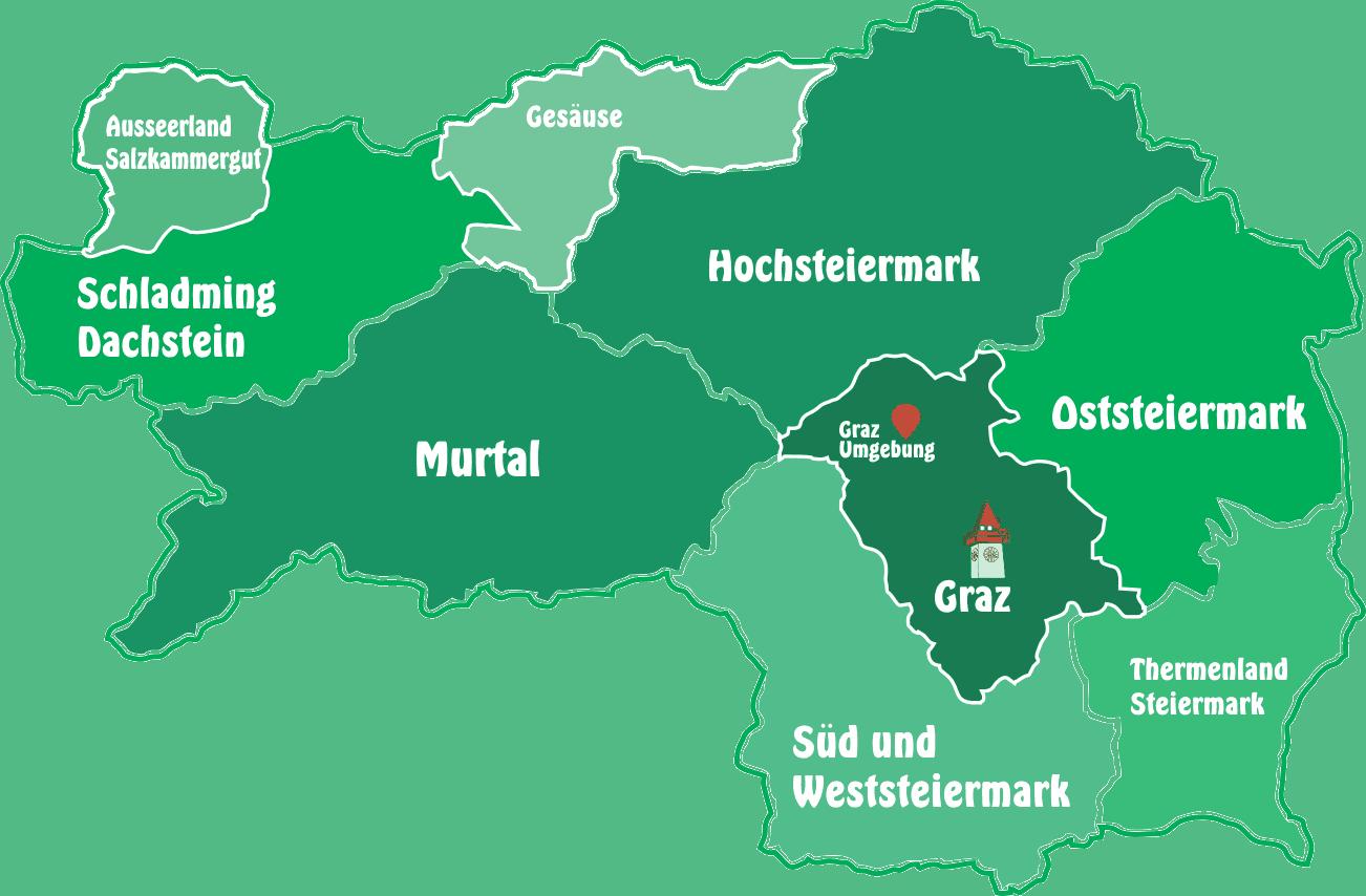 steiermark karte ➤ URLAUB u. Ausflugsregionen in der Steiermark   Österreich 【2019】